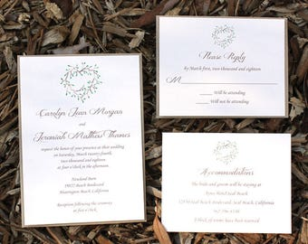Rustic Farm Wedding Invitation - rustic wedding suite, elegant wedding set, green leaves, rustic weddings, green floral wreath, greenery
