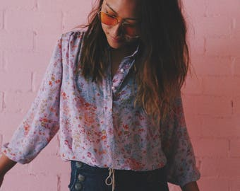 Vintage Dolly Dolly sheer lilac floral blouse