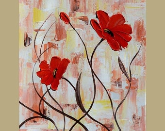 70% off Red Poppies white 23 x 30 Original Oil Painting Palette Knife Flowers  Bouquet Textured  by Marchella