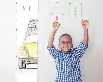 Custom/ Personalized VW Beetle/Bug canvas growth chart in yellow - gender neutral nursery decor