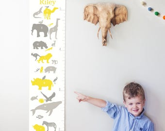 Custom/ Personalized Alphabet Animals canvas growth chart in yellow & gray- perfect gender neutral or boy nursery decor or baby shower gift!