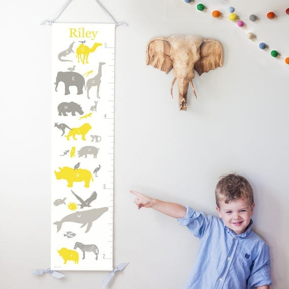 Personalized Alphabet Animals canvas growth chart in yellow and gray