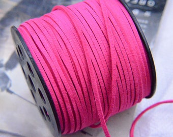 20 yds Virtual Pink faux suede leather cord, string, suede leather string, faux leather cord for bralelet necklace, mala thread 2.5mm