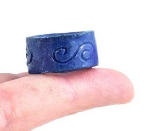 Handmade Ceramic Ring Rustic Spiral Design Semi Matt Blue Stoneware Statement Unisex Jewelry by DeeDeeDeesigns