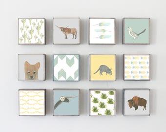 southwestern nursery art- twelve set of 5x5 art blocks- kids room decor- boho nursery decor, southwestern prints, redtilestudio, art print