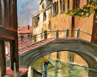 "Gorgeous Vintage Venice Signed Oil Painting 22"" x 28"" Canvas Board Light Impasto Gondola on Canal Venezia Amelie 82"
