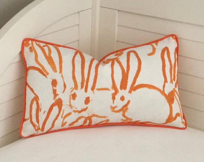 Groundworks, Lee Jofa, Hunt Slonem, Bunny Designer Pillow Cover, Choice of Piping Colors, Square,Lumbar and Euro Covers