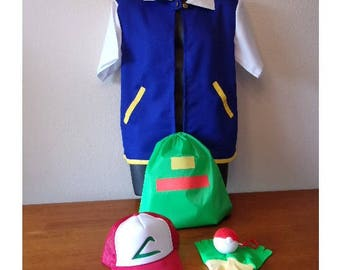 Kid size Ash Ketchum Pokemon  full costume set  5 pieces  Original Series