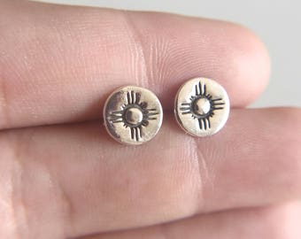 Zia Earrings / Zia Studs / New Mexico Earrings / State of New Mexico / Fine Silver Earrings / Zia Symbol Earrings