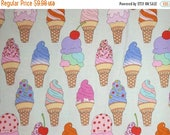 ON SALE Cute and Fun Soft Serve Ice Cream Print Pure Cotton Fabric--By the Yard