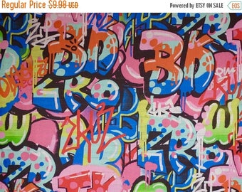 ON SALE Bright and Crazy Tag You're It Graffiti Print Pure Cotton Fabric --By the Yard