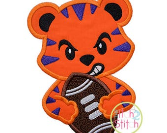 Tiger Football Mascot Applique Sizes 4x4, 5x7, and 6x10, INSTANT DOWNLOAD