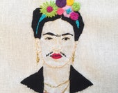 Frida kahlo hand embroidery frame piece