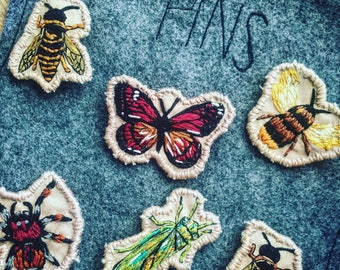 Handmade embroidery bugs pins