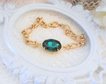 Emerald Bracelet, Art Deco Bracelet, Emerald Crystal Bracelet, Chain Bracelet, Rhinestone Bracelet, Layering Bracelet, Estate Jewelry