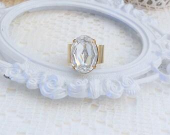 Swarovski Ring, Crystal Rhinestone Ring, Clear Crystal Ring, Old Hollywood Ring, Swarovski Jewelry, Estate Jewelry, Swarovski Cocktail Ring