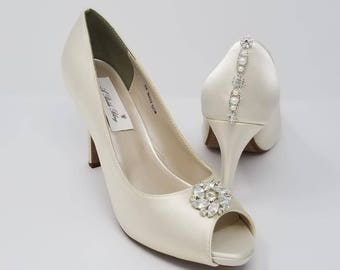 Ivory Wedding Shoes Ivory Bridal Shoes with a Sparkling Crystal Flower Design and Back Crystals and Pearls -  Over 100 Colors To Pick From