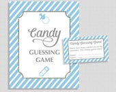 Candy Guessing Baby Shower Game, Light Blue Stripe, Guess How Many Candies, M&M's, Jelly Beans, etc., Boy, INSTANT PRINTABLE