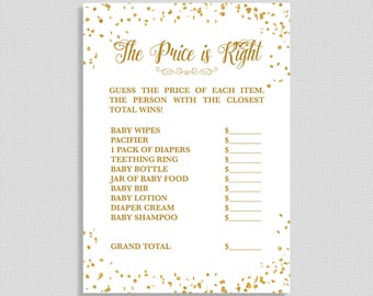 The Price is Right Shower Game, White and Gold Glitter Confetti Game, Gender Neutral Baby Shower Activity, DIY Printable, INSTANT DOWNLOAD