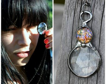 Kaleidoscope Necklace, Long Pendant Necklace, Glass Prism Necklace, Long Chain, Opal Jewelry, Pretty Necklaces, Adult Kaleidoscope (2768)