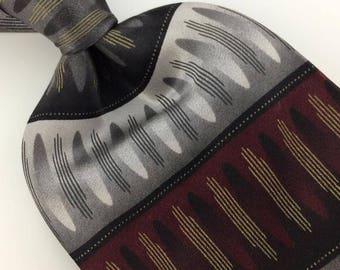 Knightsbridge Ties Handmade Striped Deco Maroon Gray Silk Necktie Ties I6-97  Excellent Vintage Corbata Krawatte Cravatta Cravate