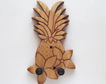 Deluxe pineapple/floral ukulele wall mount hanger, hand carved.