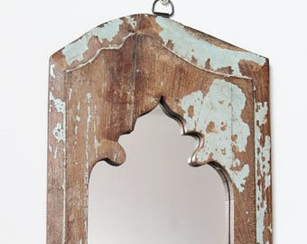Moroccan Mirror Vintage Wood Framed Mirror Reclaimed Wood Wall Art Blue and Brown