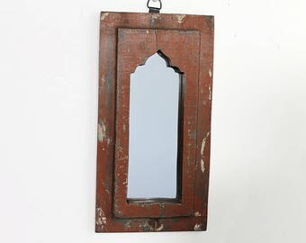 Moroccan Mirror Vintage Wood Framed Mirror Reclaimed Wood Wall Art Brick Red Turquoise Wall Mirror Moroccan Decor Turkish