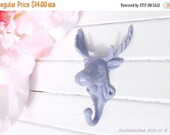 ON SALE Lilac Moose Head/ Moose Decor / Moose Hook / Iron Wall Hook /Nursery Wall Decor /Girls Room / Shabby Chic Decor