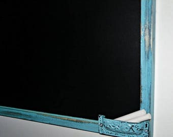 ON SALE Aqua Framed chalkboard, 23x35  Ex- Large chalkboard  / Shabby Chic Decor