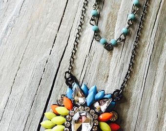 Necklace-Vintage Reclaim-Orange-Rhinestone-Turquoise-Rosary-Double Strand-Boho