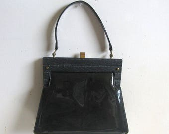 Vintage 1960s Handbag Black Patent Leather Bakelite Frame Purse