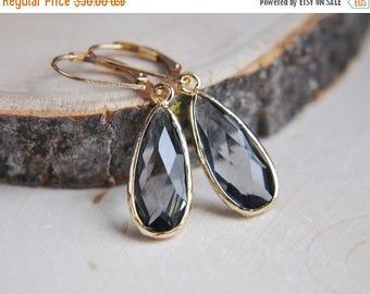 SALE Gray Earrings, 14k Gold Filled Earrings, Glass Earrings, Gray Teardrop Earrings, Everyday Earrings, Simply Earrings, Smokey Gray Earrin