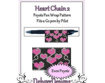 Peyote Beading Pattern (Pen Wrap/Cover)-Heart Chain 2