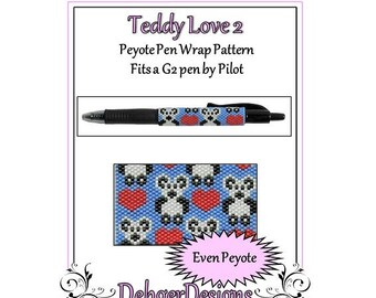 Peyote Beading Pattern (Pen Wrap/Cover)-Teddy Love 2