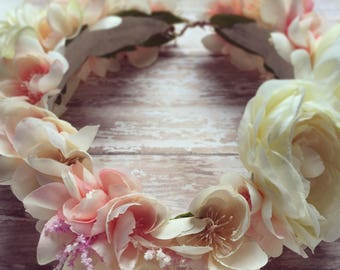 Floral Rose Crown: Girl or Adult + Tieback + Halo + Headwrap + Natural + Organic + Photo Prop + Bridal + Headpiece + Festival Hair Piece