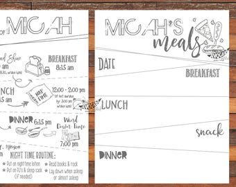 Doodle Children's Daily Schedule Sheet - DIY printing or Professional Prints available via Convo.