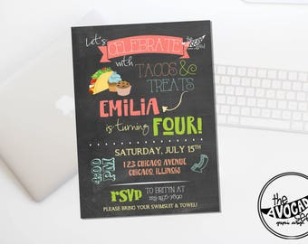 Tacos and Treats Girl Version - Birthday (or any event) invitation - DIY Printing or Professional Prints