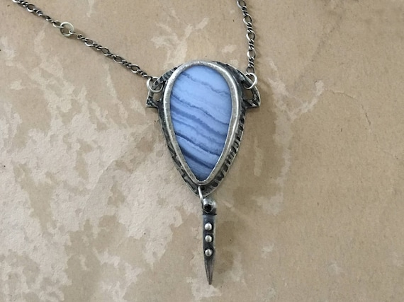 Blue Lace Agate Pendant | Metalsmith Jewelry | Art Deco Necklace | One of a Kind Gifts