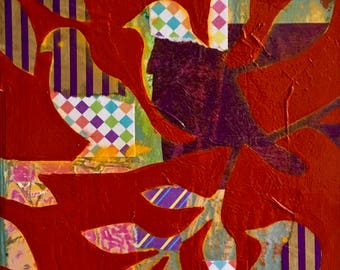 Birds of a Feather Mixed Media Collage Painting 'Red Dreams'