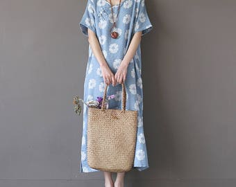 Casual Loose Fitting Long Sleeved Cotton Long Dress Blouse- Women Maxi dress(200500000152)