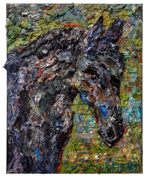 SOLD - Oil Paint on Stretched Canvas of 20 by 16 by 3/4 in. / Original oil painting  nature animal landscape wildlife horse art equestrian