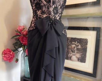NEW YEAR SALE Oh So Sexy- A.J.Bari  --Vintage 50s Corset --Black Lace and Beaded Party Dress----Stunning