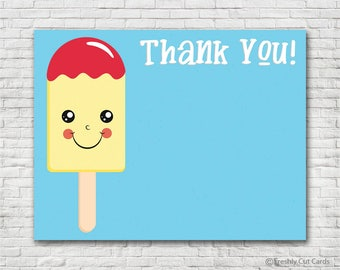 Yellow Popsicle Thank You Card - Instant Download