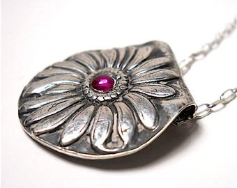 """Pink Ruby and Sterling Artisan Necklace """"Bloom"""" -  LOOKS so PRETTY ON! - Earthy  Boho Jewellery, July Birthstone,  One of a Kind"""