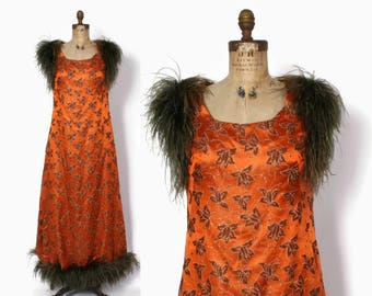 Vintage 60s Party DRESS / 1960s Orange Brocade FEATHER Trim Full Length Evening Gown L