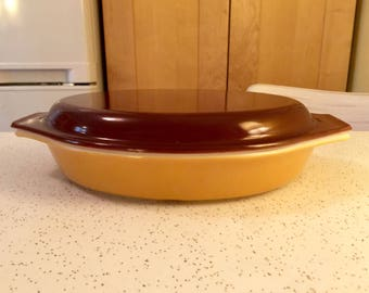 Pyrex Covered Brown and Gold Covered Divided Casserole Dish with Lid 1 Quart 063 Made in the USA