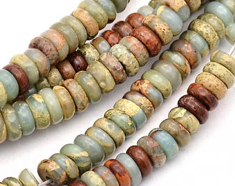 10 Flat Round Beads Serpentine Beads in Earth Tones 8mm x 3mm - BD217
