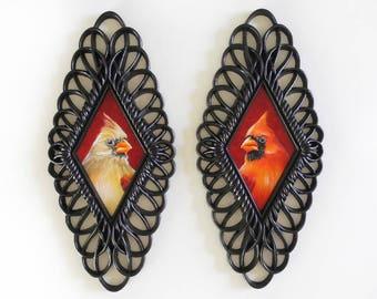 Cardinal Pair in ornate diamond frames - male and female cardinal paintings in filigree black vintage frames - redbird cardinal art