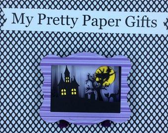 Halloween Shadow Box, Halloween Diorama, Halloween Decoration, Halloween 3D, Witch, Haunted House, Cemetery,Full Moon , Black Cat, Bat, OOAK